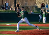 Ohio's Cory Blessing (#22) pitches during their game against Ohio State on Tuesday. The Bobcats lost 10-8 to the Buckeyes.