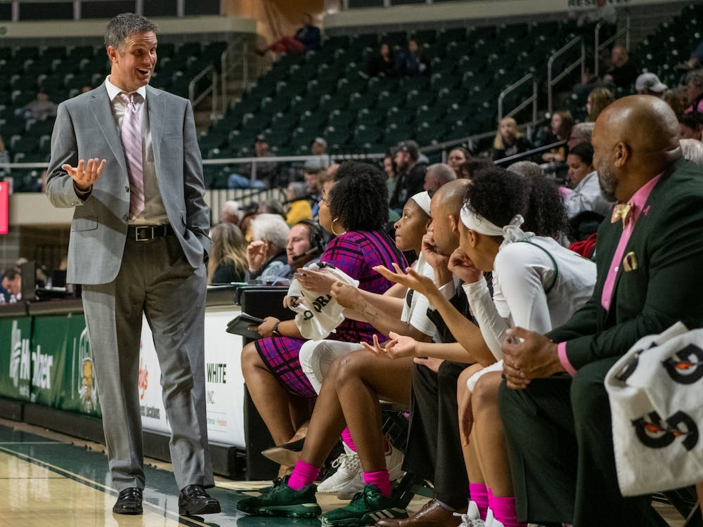 Ohio University coach Bob Boldon speaks to players during the Ohio versus Toledo game in The Convocation Center on Wednesday, Feb. 19, 2020. Ohio won the match 86-58. (FILE)
