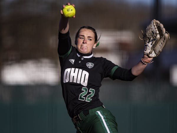 Ohio pitcher Madi McCrady (#22) throws a pitch during the Bobcats game against Northern Kentucky on Tuesday at the Ohio Softball Field in Athens, Ohio.