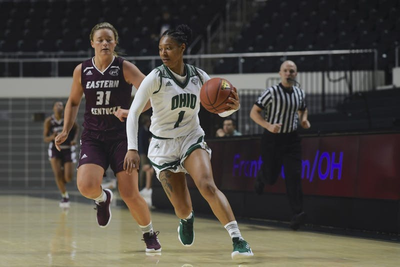 Ohio guard Cece Hooks drives toward the basket during the game against EKU on Sunday.