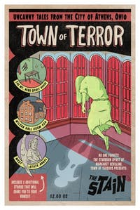 "Alex Graham, a senior studying painting and drawing, created an Athens-inspired pulp art called ""Town of Terror."" (Provided via Alexis Graham)"