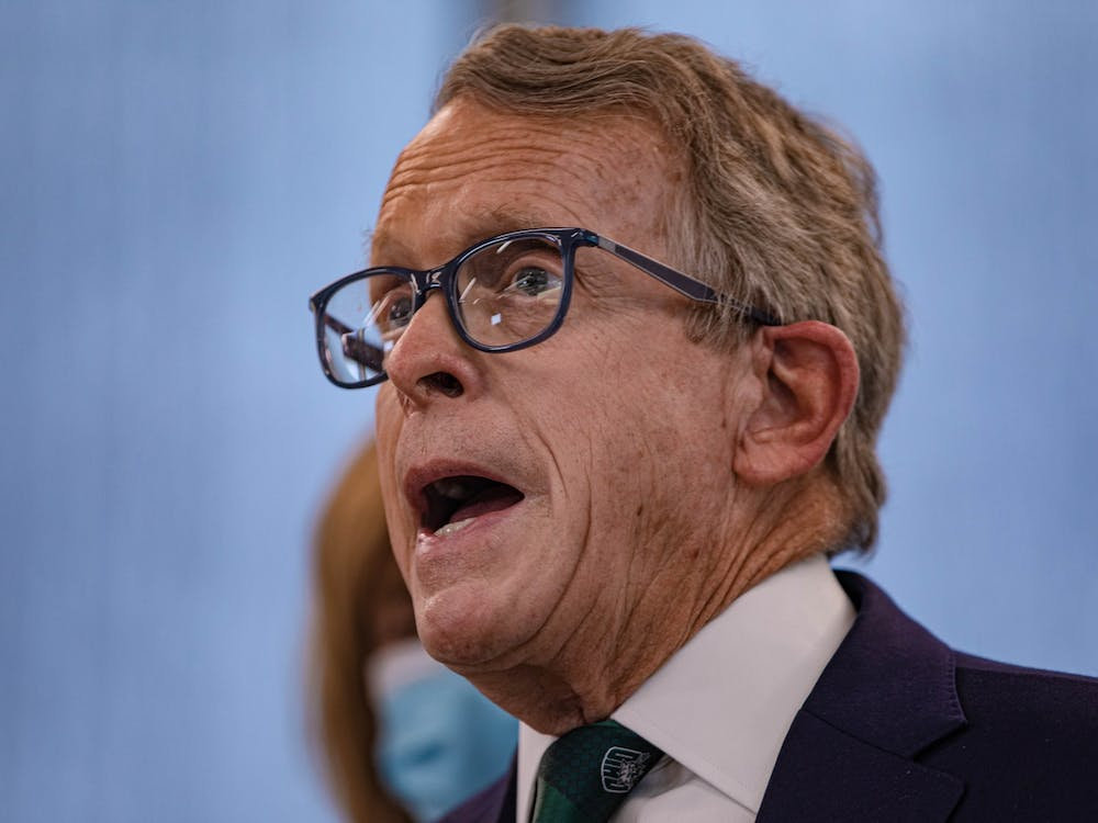 Ohio Gov. MIke DeWine speaks about the vaccine rollout in rural Ohio at Ohio University's Heritage College of Osteopathic Medicine on Monday, April 12, 2021. (FILE)