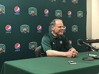 Ohio coach Frank Solich laughs during a press conference on Aug. 27.