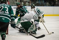 Goalie Jackson Chilberg (No. 1) pokes the puck in the first period of Ohio's game against Eastern Michigan on Saturday, Oct. 13, 2018.