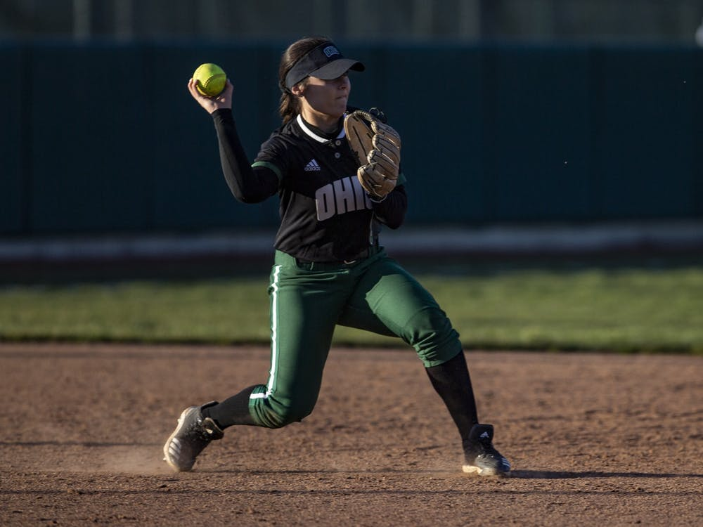 Ohio infielder Katie Yun (#8) throws a ball to second base during the Bobcats' game against Northern Kentucky on March 26, 2019, at the Ohio Softball Field.