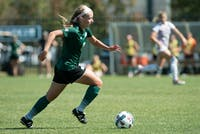 Sydney Leckie dribbles the ball down the field during Ohio's game against Central Michigan on Sept. 24. (FILE)