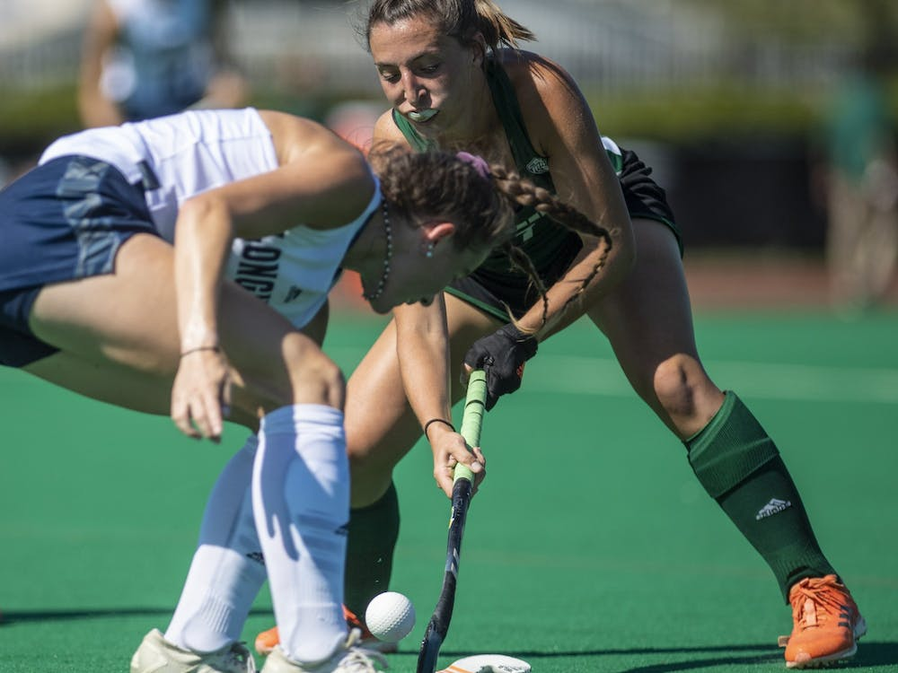 Ohio's Emma Spinetto maneuvers the ball away from Longwood's Caroline Verhappen during the game against Longwood on Oct. 5, 2019 at Pruitt Field. (FILE)
