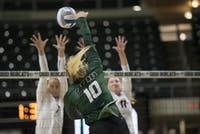 Carley Remmers (#10) spikes the ball over the net during Ohio's game against Georgia on Sept. 1 in The Convo. (FILE)
