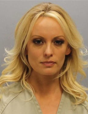 The mugshot of adult film actress Stormy Daniels, who was arrested at a Columbus strip club early Thursday. The charges against Daniels were dropped later Thursday, according to court documents tweeted by her attorney. (photo via Franklin County Sheriff's Office)
