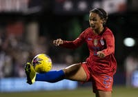 Lynn Williams (#27) attempts to bring the ball down during the game against Sweden in Columbus on Thursday, Nov. 7, 2019. (FILE)