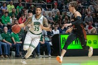 Ohio's Jordan Dartis dribbles the ball past Dylan Fyre of Bowling Green during their game on Saturday, Jan. 11, 2020, in The Convo. Ohio lost 83-74.