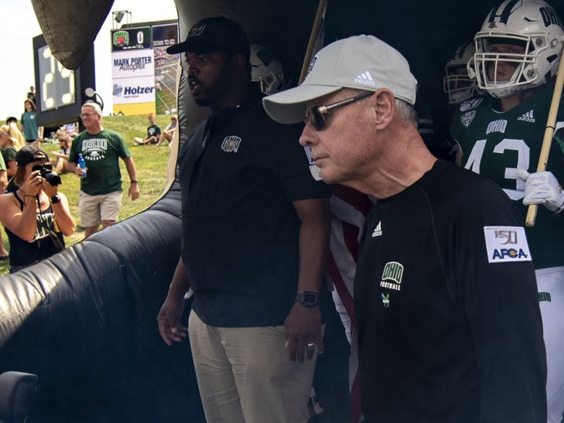 Head football coach, Frank Solich, waits to run out before the home game on Saturday, August 31, 2019.