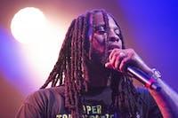 Waka Flocka performing Saturday night with Loudiene at Memorial Auditorium in Athens, Ohio.