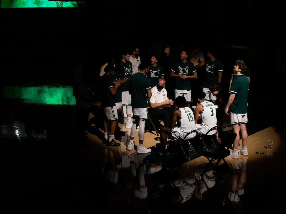 Ohio University head coach Jeff Boals hypes up the team before its game against Kent State on Saturday, Jan. 16, 2021. (FILE)