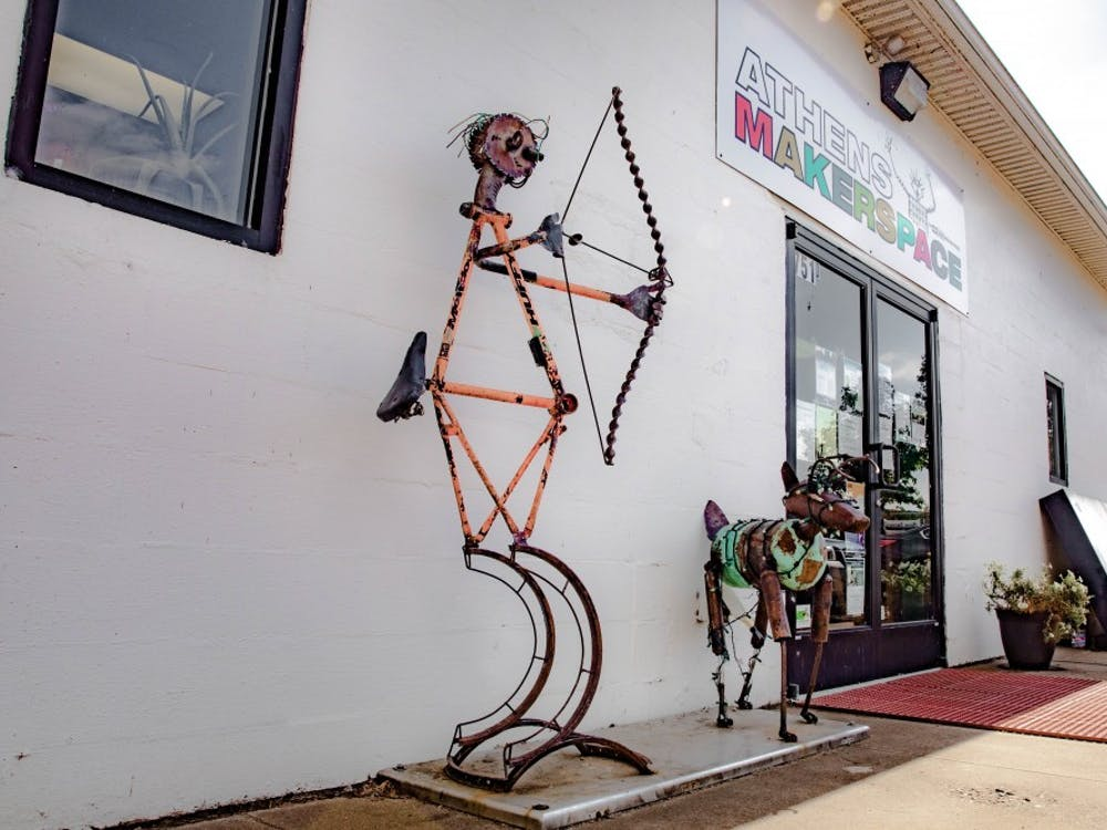 Athens MakerSpace on W Union St, Athens, OH with scrap metal sculptures on display outside its new location on Monday, Sept. 16, 2019.