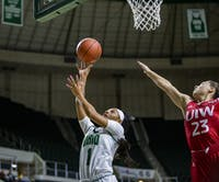 Ohio guard Cece Hooks (No. 1) aims for a basket against University of the Incarnate Word in the Convo on Saturday, Nov. 23, 2019.