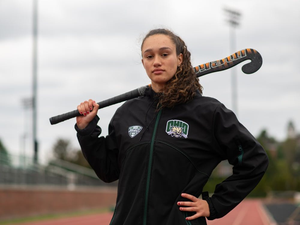 Ohio University field hockey player Sophia Boothby poses for a photo at Pruitt Field on Wednesday, Oct. 16, 2019.