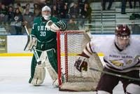 Ohio goalie Jimmy Thomas (#30) watches the puck being played during the Bobcats' 4-0 victory over Robert Morris-Illinois on Saturday, Dec. 1.
