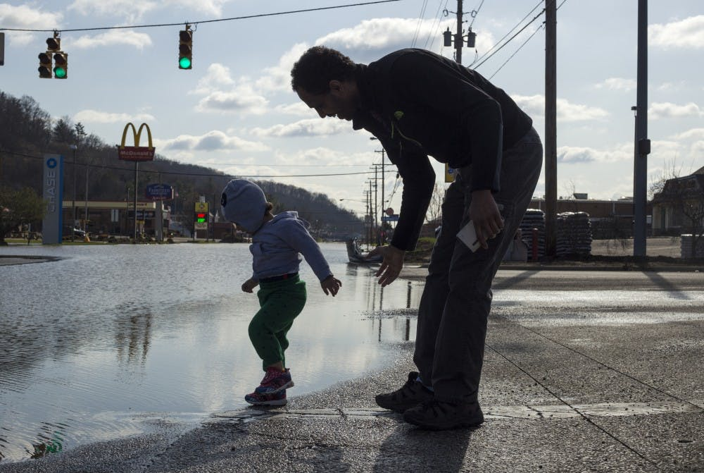 Hocking River floods, submerging parts of East State Street