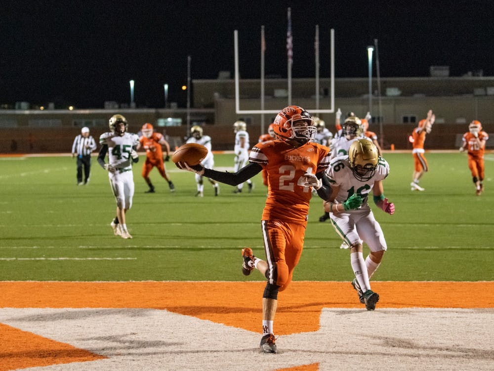 Nelsonville-York's Zach Taylor scores a touchdown during the Buckeyes' game versus Athens on Friday, Oct. 2, 2020. Nelsonville-York won 36-6.