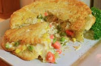 You can make a pot pie with your leftover Thanksgiving turkey. (via jeffreyw on Flickr)