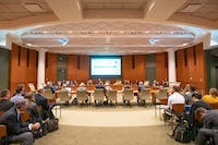 Members of the Ohio University Board of Trustees meet on Thursday in Walter Hall.