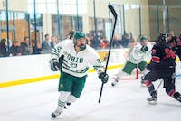 Ohio sophomore Gabe Lampron (#23) celebrates after Ohio scores a goal during Ohio's game against UNLV in the 2018 ACHA National Tournament on March 9. The Bobcats defeated the Rebels 3-2 and will advance to the next round of the tournament on Sunday.