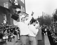 Jeff Boals (left, with trophy) during his time as a player at Ohio. (archive photo provided via Ohio Athletics)