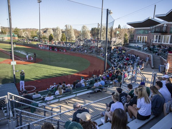 A season-high crowd of 1,990 was on hand Tuesday, April 9, 2019, to watch Ohio play Ohio State at Bob Wren Stadium.