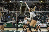 Ohio University junior Lizzie Stephens hits the ball against The University of Akron on Saturday, Sept. 29, 2018. (FILE)