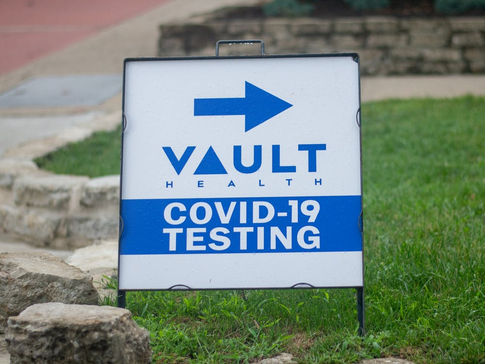 A Vault Health COVID-19 testing sign directs its patrons to Shively Hall.