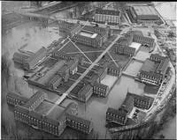 An aerial view of Hocking River flooding West Green in 1963.