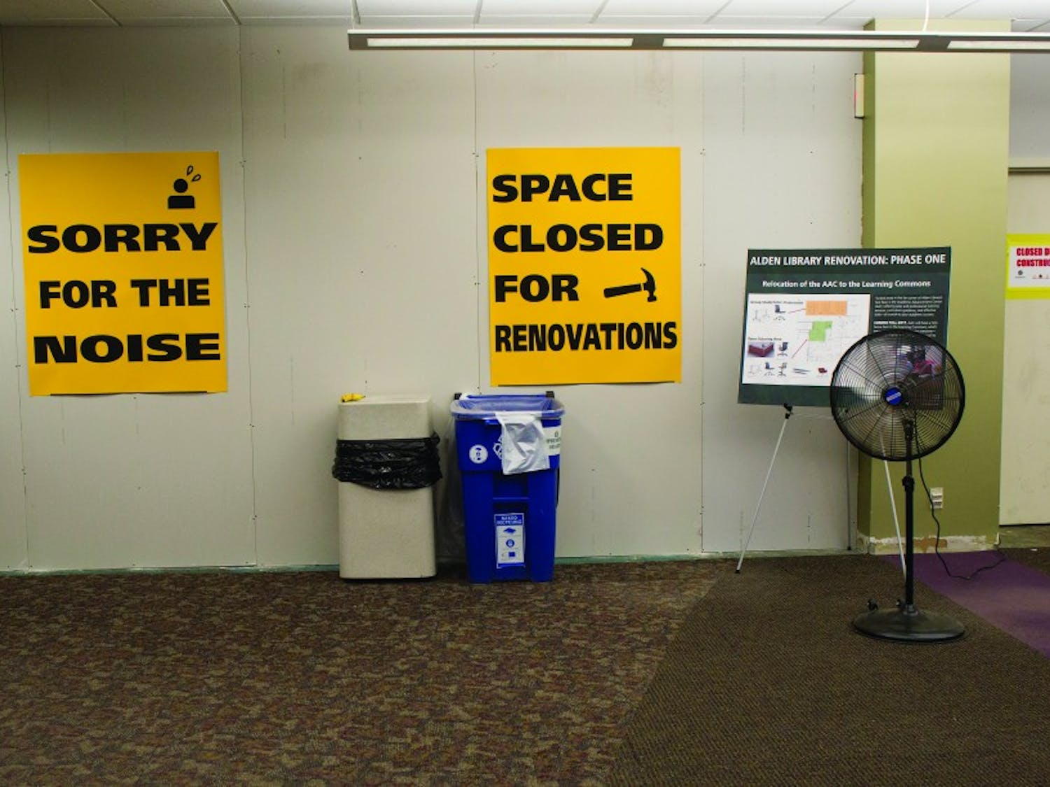 A portion of the second floor of Alden Library is closed for the first phase of renovations. (EMILY MATTHEWS   PHOTO EDITOR)