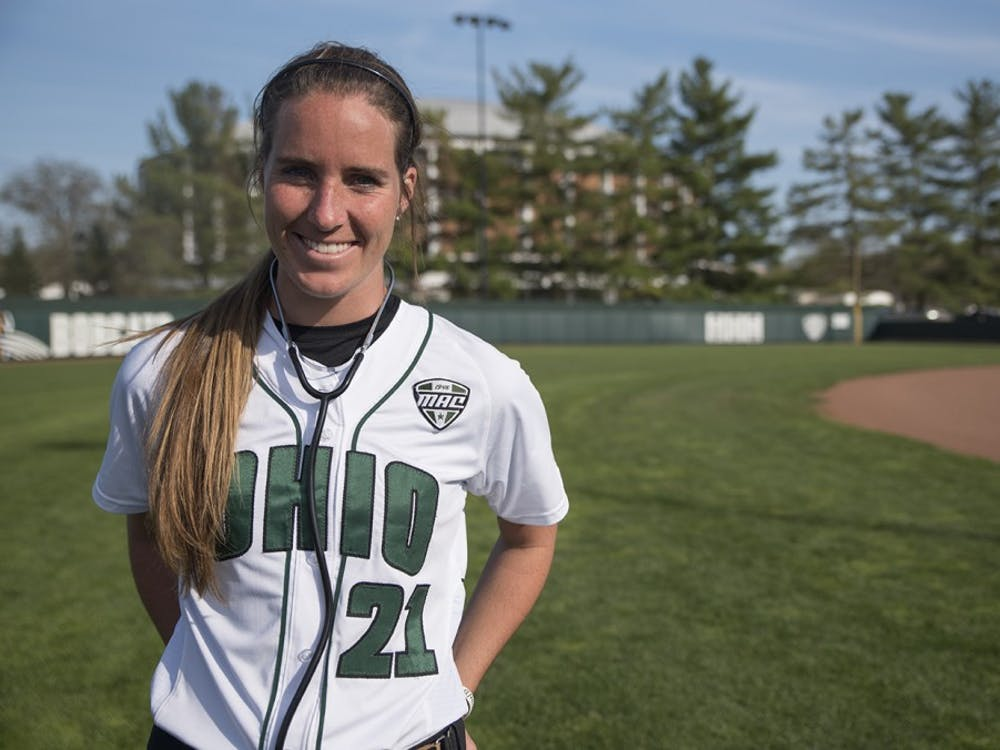 Savannah Jo Dorsey poses for a portrait at the Ohio University Women's Softball Complex in 2017.