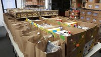 Bags of perishable items inside of the Athens County Food Pantry.