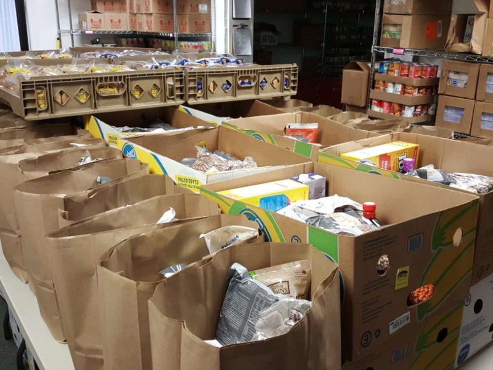 Bags of perishable items inside of the Athens County Food Pantry. (FILE)