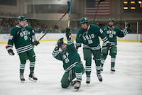 Ohio's Zach Frank (#21) celebrates with his teammates after scoring the first goal of the Bobcats' game against Davenport in Bird Arena on Friday. The Bobcats won 4-2. (Correction: A previous version of this photo caption incorrectly stated the date.)