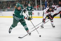 Matt Rudin (#27) shoots the puck during Ohio's game against Davenport in Bird Arena Nov. 2 where the Bobcats won 4-2. (FILE)