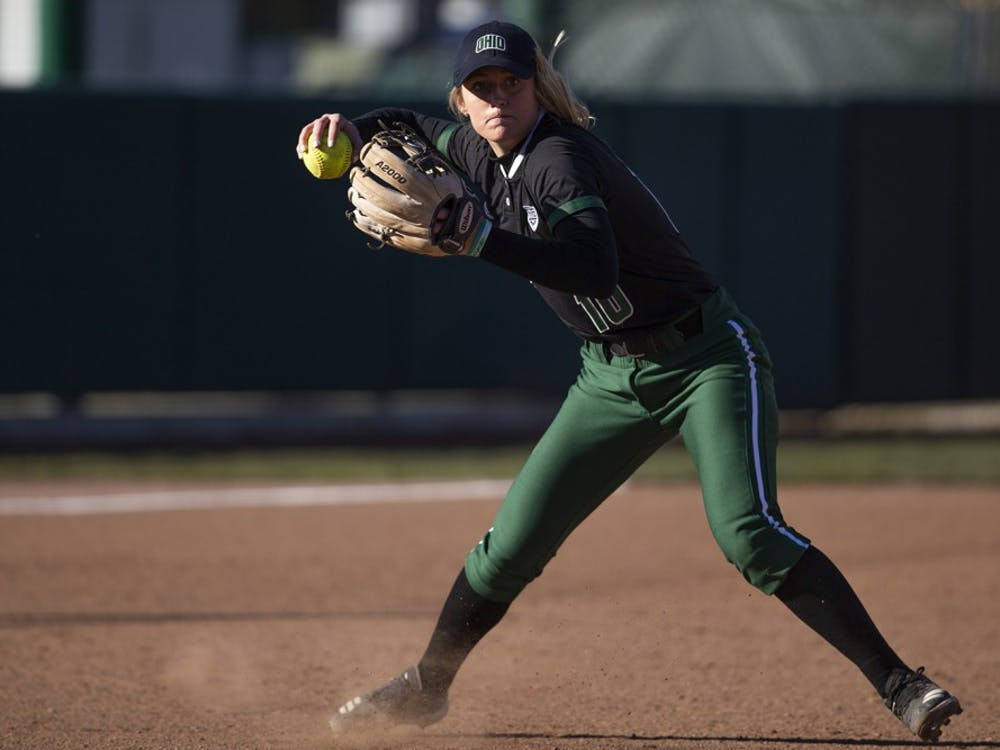 Ohio infielder Alex Day (#10) throws a fielded ball to first base Bobcats game against Northern Kentucky on March 26 at the Ohio Softball Field in Athens, Ohio. The Bobcats beat the Norse 3-1.