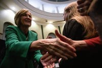 Ohio Lieutenant Governor candidate Betty Sutton greets supporters at a rally in Walter Rotunda on Thursday.
