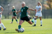 Sydney Leckie takes a shot during the game against Toledo on October 22, 2017. The Bobcats lost 2-1. (FILE)