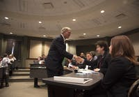 Ohio University President Duane Nellis at the Student Senate meeting on Aug. 30, 2017. (FILE)