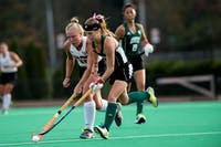 Ohio's Emma Eggleston steals the ball during the game against Ball State on Oct. 12. The Bobcats won 3-0. (FILE)