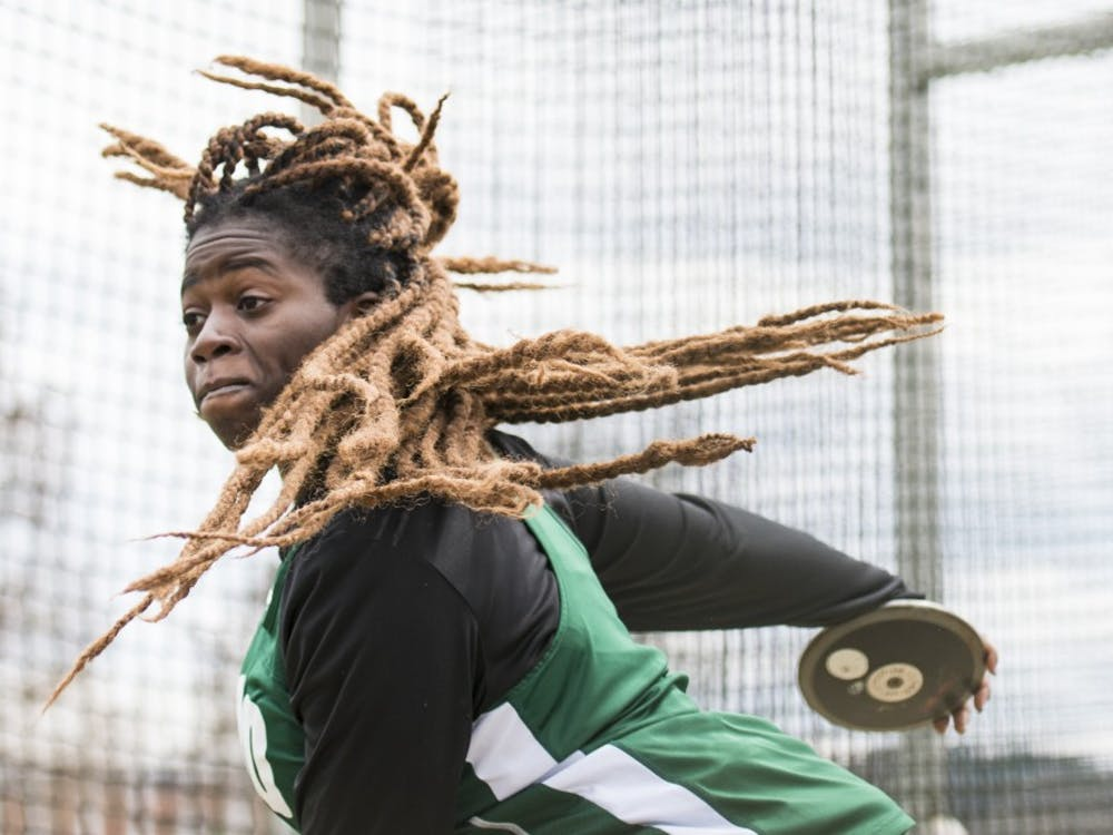 Ohio's Gaza Odunaiya throws a discus during the Cherry Blossom Track and Field Invitational on April 7. (FILE)