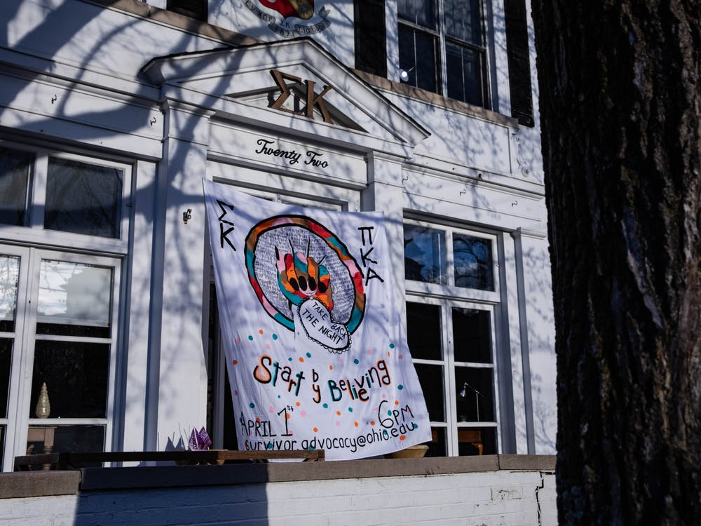 The Sigma Kappa sorority house displays a banner honoring Take Back the Night on Thursday, April 1, 2021.