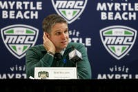 Ohio coach Bob Boldon answers questions in the postgame press conference after the Bobcats' 69-66 loss to Miami in the quarterfinals of the MAC Tournament on March 7, 2018. (FILE)