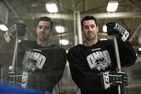 Bryan Lubin, a senior forward for the Ohio Bobcats hockey team, poses for a portrait at Bird Arena.