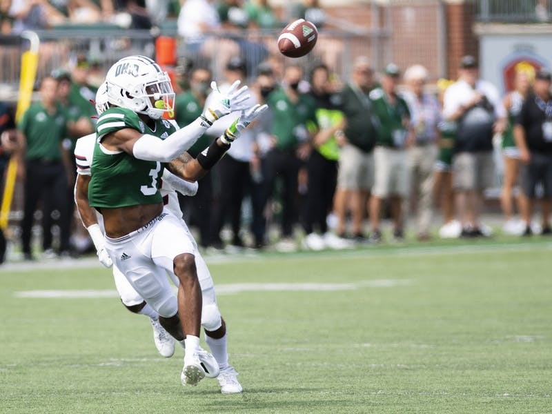 Ohio's Cam Odom (#3) catches a pass during the Bobcats' match versus Duquesne on Saturday, Sept. 11, 2021.