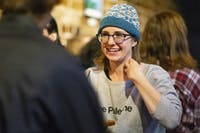 Socialist candidate, Ellie Hamrick, chats among the Athens Revolutionary Socialists during an election party at The Union on Tuesday, Nov. 5, 2019. (FILE)