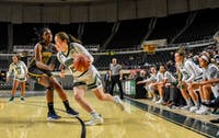 Ohio's Kaylee Bambule goes for the basket during Ohio's game against Coppin State on Saturday.